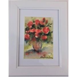 Obraz - Akvarel-Červené ružičky I. č.126- Mária Lenárdová
