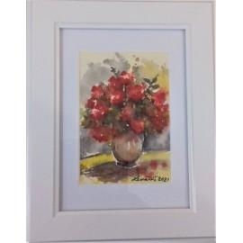 Obraz - Akvarel-Červené ružičky II. č.125- Mária Lenárdová