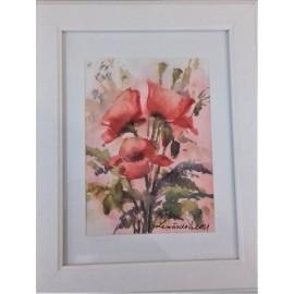 Obraz - Akvarel- Maky v ružovom poli č.123- Mária Lenárdová