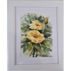 Obraz - Akvarel- Žlté ruže č.124- Mária Lenárdová