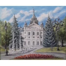 Obraz - akryl na plátne - Štátne divadlo -Fontána-Zvonkohra- Baňas Matúš