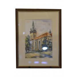 Obraz - Akvarel - Kostol sv. Mikuláša - Mária Lenárdová