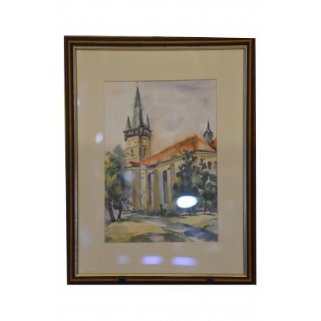 Akvarel, Prešov, Kostol Sv. Mikuláša - ručne maľovaný obraz