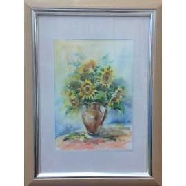 Obraz - Akvarel- Slnečnice v džbáne č.130- Mária Lenárdová