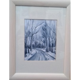 Obraz - Akvarel- Zimná cesta č.131- Mária Lenárdová