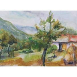 Obraz - Komb. technika - Osada v horách - Mgr. Margita Rešovská