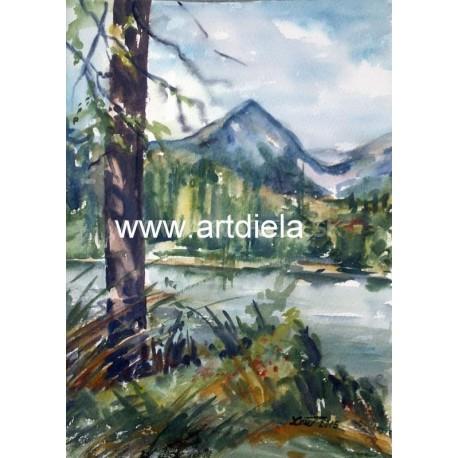 Akvarel, Tatry - Štrbské pleso - ručne maľovaný obraz