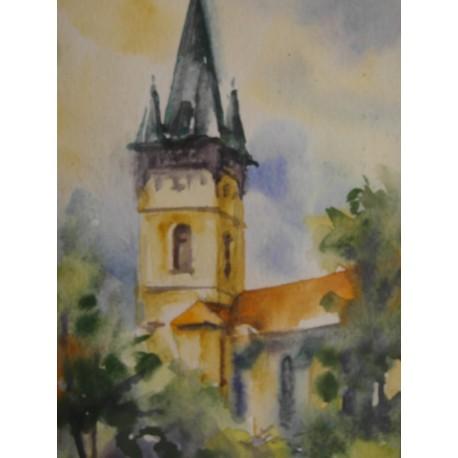 Akvarel, Prešov, Sv. Mikuláš - Jar - ručne maľovaný obraz