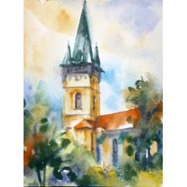 Obraz - Akvarel - Prešov/Sv. Mikuláš - Jeseň - Mária Lenárdová