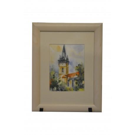 Akvarel, Prešov, Sv. Mikuláš - Jeseň - ručne maľovaný obraz