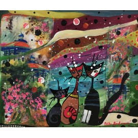 Obraz - Farebné kvety - Ručne maľovaný