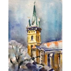 Akvarel, Prešov, Sv. Mikuláš - Zima - ručne maľovaný obraz