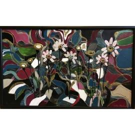 Obraz - Akryl - Kvety v mozaike - Katarína Haraksimová