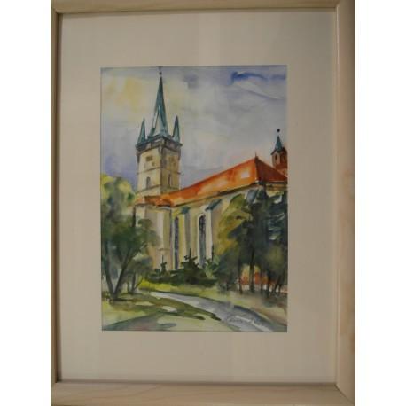 Akvarel, Prešov - Kostol Sv.Mikuláša - ručne maľovaný obraz