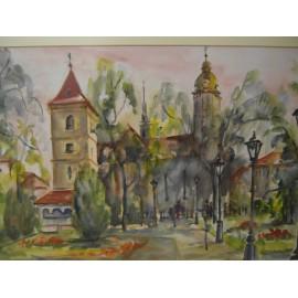 Obraz- Akvarel- Košice- Dóm/Urbanova veža- Mária Lenárdová