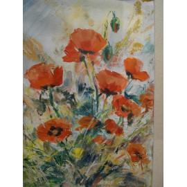 Červené maky - ručne maľovaný obraz