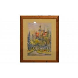 Obraz- Akvarel- Košice s kaplnkou- Mária Lenárdová