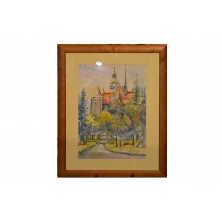 Akvarel , Košice s kaplnkou - ručne maľovaný obraz