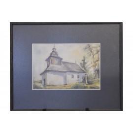 Obraz - Akvarel - Drevený kostolík - Mária Lenárdová