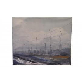 Obraz - Olejomaľba na plátne - Stanica - Monika Vitányi