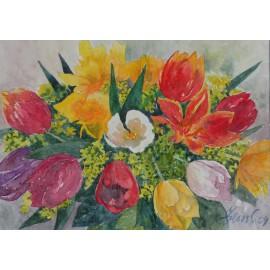 Obraz - Akvarel - Kytica s tulipánmi - Martina Štecová