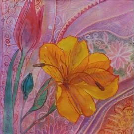 Obraz - Kombinovaná technika - Kvetinový motív - Martina Štecová