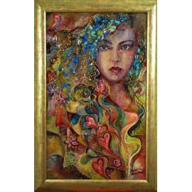 Obraz - Kombinovaná technika - Žena s modrými kamienkami - Daniela Petríková