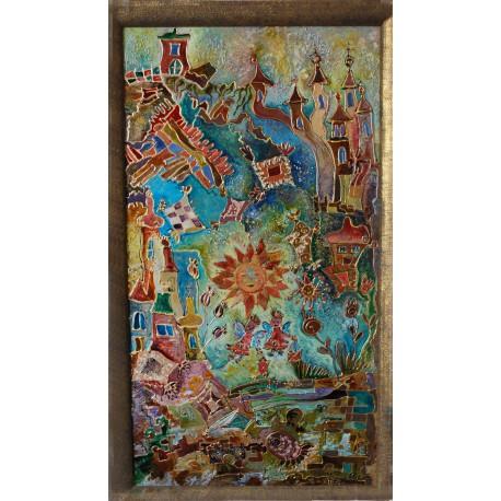 Originálny obraz na skle- Veselá dedinka