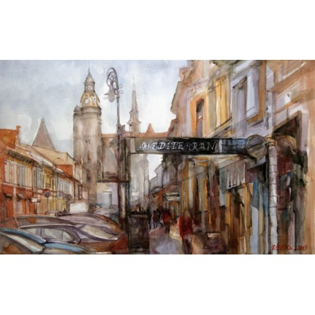 Akvarel-ručne maľovaný originál obraz- krajinka motív-Z cyklu Košice 2