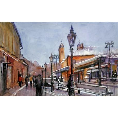 Akvarel-ručne maľovaný originál obraz- krajinka motív-Z cyklu Košice