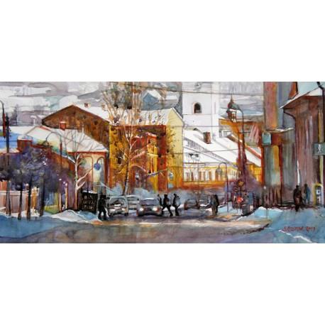 Akvarel-ručne maľovaný originál obraz- krajinka motív-Zimne ráno v Jablunkove