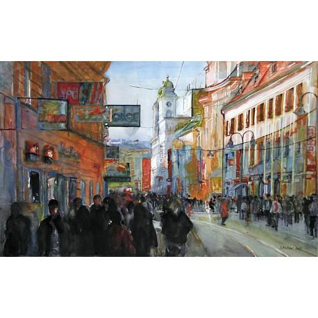 Akvarel-ručne maľovaný originál obraz- krajinka motív-Linz 1