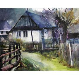 Akvarel-ručne maľovaný originál obraz-Jarny motív z Vortovej