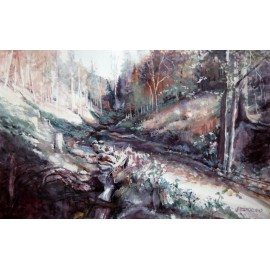 Akvarel-ručne maľovaný originál obraz- Ráno v lese