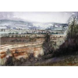Akvarel-ručne maľovaný originál obraz - Pohľad na Vranov od Rudľova