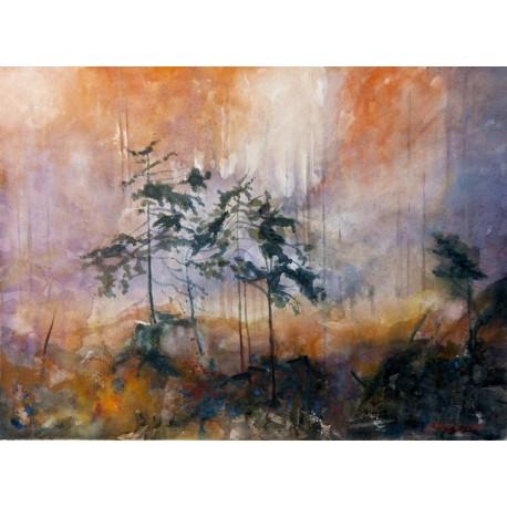 Akvarel-ručne maľovaný originál obraz-Lesné zátišie