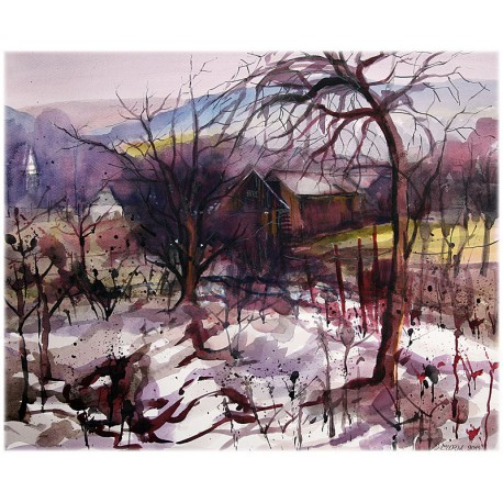Akvarel-ručne maľovaný originál obraz- Záhrady v Petkovciach