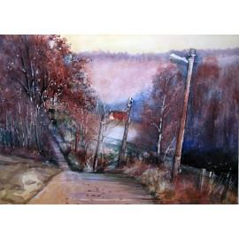 Akvarel-ručne maľovaný originál obraz- krajinka motív-Večer v Jablunkove
