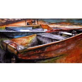 Akvarel-ručne maľovaný originál obraz- motív krajiny-Večer na Lipne