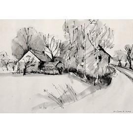 Akvarel-ručne maľovaný originál obraz- krajinka motív-Usadlosť
