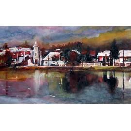Akvarel-ručne maľovaný originálny obraz-motív krajinky-Staré pri Strážskom,