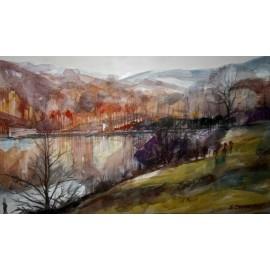 Akvarel-ručne maľovaný originál obraz-Rybník v Kazimíri