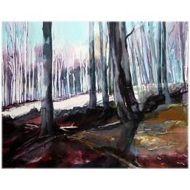 Akvarel-ručne maľovaný originál obraz-Ráno v bukovom lese