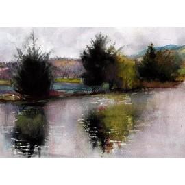 Akvarel-ručne maľovaný originál obraz- motív krajiny-Nové hrady