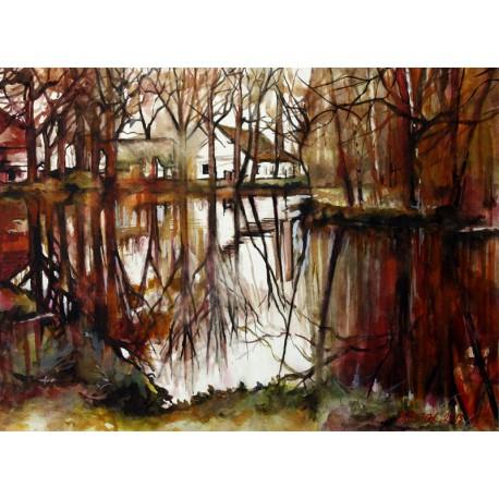Akvarel-ručne maľovaný originál obraz- motív krajiny-Krajina pri Suchdole