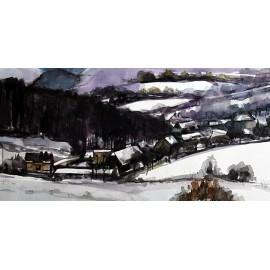 Akvarel-ručne maľovaný originál obraz- motív krajiny-Krajina pri Pušovciach