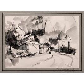 Akvarel-ručne maľovaný originál obraz- motív krajiny-Kostrčany