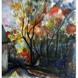 Akvarel-ručne maľovaný originál obraz-Čerešňový sad