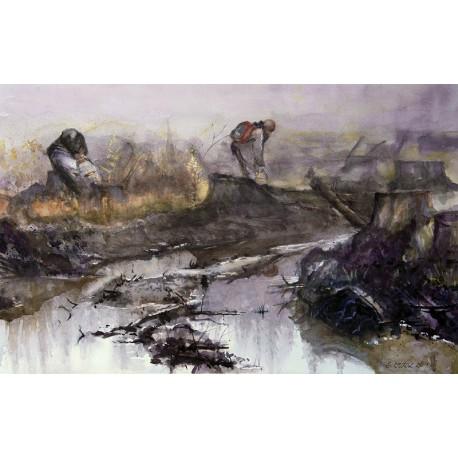 Akvarel-ručne maľovaný originál obraz - Ochrana lesných kultúr