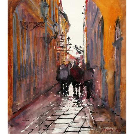 Akvarel-ručne maľovaný originál obraz- Ruch veľkomesta